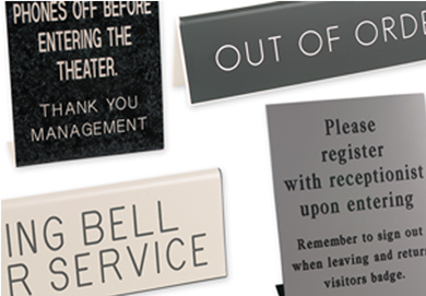 Engraved Pedestal & Table Tent Signs