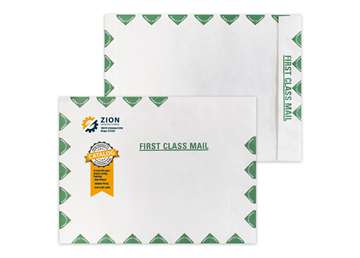 """Custom DuPont™ Tyvek® Envelope, 10"""" x 13"""" Open End with Green First Class Border"""