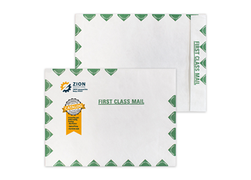 """Custom DuPont™ Tyvek® Envelope, 9"""" x 12"""" Open End with Green First Class Border"""