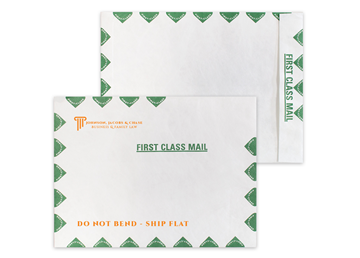 """DuPont™ Tyvek® 14lb. 10"""" x 13""""  Open End Green First Class Border, Zip Stick®, 1 Special Color"""
