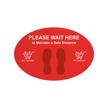 """Full Color Repositionable Floor Decal 12"""" X 18""""- Oval"""