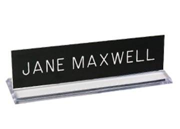 "Engraved Sign with Plexiglass Desk Holder, 2"" x 8"""