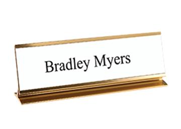 """Engraved Sign with Metal Pedestal Desk Holder, 2"""" x 8"""""""