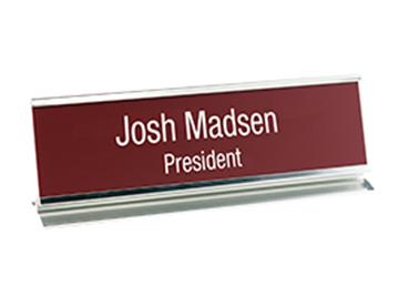 "Engraved Sign with Metal Desk Holder, 2"" x 8"""