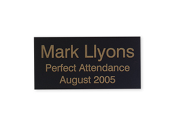 "Engraved Black/Gold Metal Plate, 1 1/2"" x 3"""