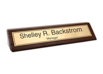 """Laser Engraved Gold Background on Walnut Desk Bar, 2-3/8"""" x 10-1/2"""""""