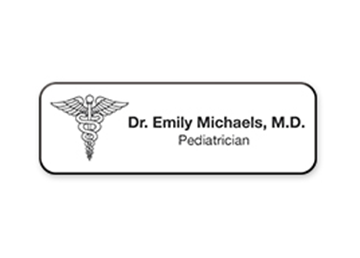 "Engraved Plastic Name Badge, 1"" x 3"""