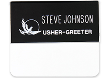 "Engraved Plastic Pocket Name Badge, 1 1/4"" x 3"""