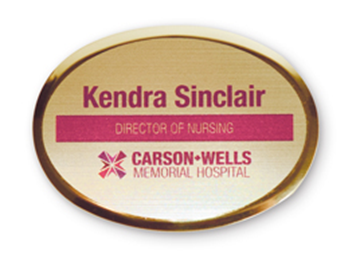 """Gold Metallic Full Color Name Badge - 2"""" x 2 3/4"""" Oval"""
