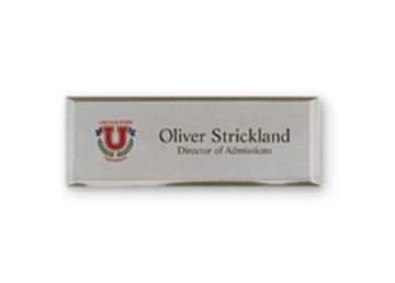 "Silver Metallic Full Color Name Badge - 1"" x 3"""