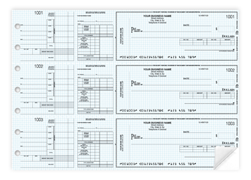 """Custom Secure Manual Checks, Business Checks, 13"""" x 9-3/16"""", 3-to-a-Page, 2-Part"""