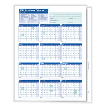 "ComplyRight™ 2021 Attendance Calendar Folders, 9 3/8"" x 11 3/4"", White"