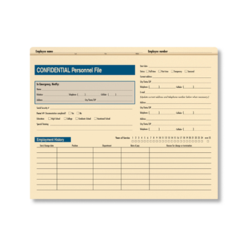 ComplyRight™ Confidential Personnel File Folder, Recordkeeping Folders, Pack of 25