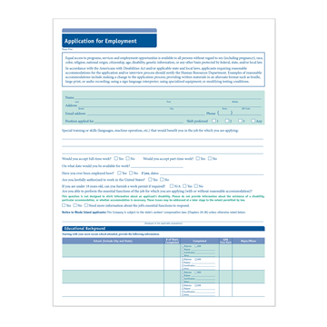 ComplyRight™ 50-State Job Application (Short Form), Job Applications, Pack of 50