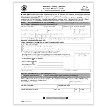 ComplyRight™ I-9 Employment Eligibility Verification Form, Hiring Tools, 1-Part, Pack of 50