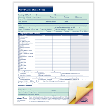ComplyRight™ Payroll Status Change Notice Forms, Recordkeeping Forms, 2-Part, Pack of 50