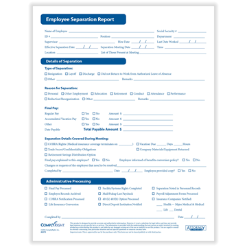 ComplyRight™ Separation Notice Form, Recordkeeping Forms, Pack of 50