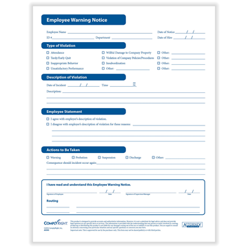 ComplyRight™ EmplComplyRight™ Employee Warning Form,Pack of 50, Recordkeeping Formsoyee Warning Form. Pack of 50