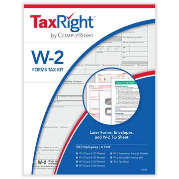 TaxRight™ W-2 4-Part Kit with Self-Seal Envelopes (50 Recipients)