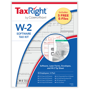TaxRight™ W-2 4-Part Kit with Software and Self-Seal Envelopes (50 Recipients)
