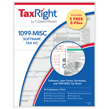 TaxRight™ 1099-MISC 4-Part Kit with Software and Self-Seal Envelopes (50 Recipients)