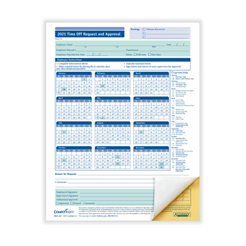 ComplyRight™ 2021 Time Off Request and Approval Form, 2-Part, Pack of 50