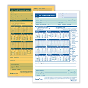 """ComplyRight™ 2021 Time Off Request and Approval Form, Small (5 1/2"""" x 8 1/2""""), 2-Part, Pack of 50"""