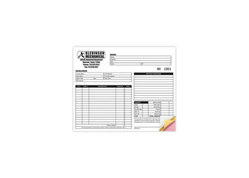 """Custom Create Your Own Business Form, Carbonless Business Forms, 8-1/2"""" x 7"""", 3-Part with Easy Pull-Apart Pages from the Top"""