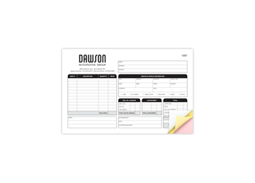 """Custom Create Your Own Business Form, Carbonless Business Forms, Horizontal, 8-1/2"""" x 5-1/2"""", 3-Part with Easy Pull-Apart Pag"""