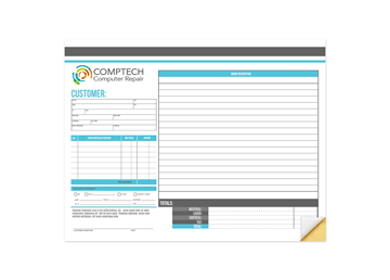 """Custom Full Color Business Form - Front, Carbonless Business Forms, 11"""" x 8-1/2"""", Horizontal, 2-Part with Easy Tear-Out Pages"""