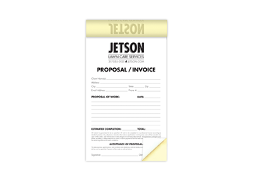 """Custom Create Your Own Business Form as a Booklet, Carbonless Business Forms, 8-1/2"""" x 5-1/2"""", 2-Part with Easy Tear-Out Page"""