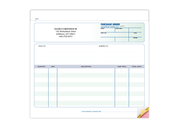 """Custom Purchase Order Forms, Carbonless Business Forms, Ruled, 8-1/2"""" x 7"""", 3-Part with Easy Tear-Out Pages"""