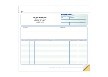 """Custom Purchase Order Forms, Carbonless Business Forms, Ruled, 8-1/2"""" x 7"""", 2-Part with Easy Tear-Out Pages"""