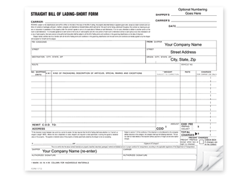 """Custom Bill Of Lading, Business Forms, 3-Part with Easy Tear-Out Pages, 8 1/2"""" x 7"""""""