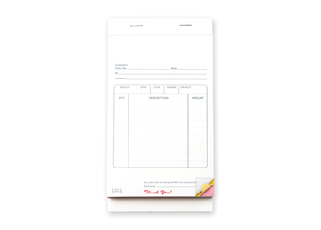 """Custom Multi-Purpose Business Form Book, Carbon Business Form, 4-1/4"""" x 7"""", 3-Part for Easy Tear-Out Pages"""