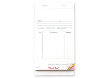 """Custom Multi-Purpose Sales Booklet, Carbonless Business Forms, 5-1/2"""" x 8-1/2"""", 3-Part with Easy Tear-Out Pages, 50 Sets Per"""