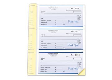 "Custom Receipt Booklets, Carbonless Business Forms, 6-1/2"" x 8-1/2"", 2-Part with Easy Tear-Out Pages, 252 Sets per Booklet"