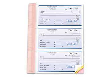 "Custom Receipt Booklets, Carbonless Business Forms, 6-1/2"" x 8-1/2"", 3-Part with Easy Tear-Out Pages, 252 Sets Per Booklet"