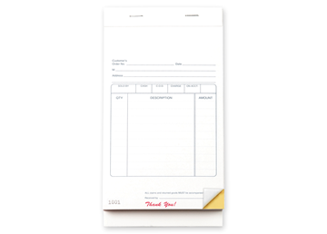 """Custom Multi-Purpose Sales Booklet, Carbonless Business Forms, 5-1/2"""" x 8-1/2"""", 2-Part with Easy Tear-Out Pages, White/Canary"""