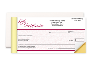 """Custom Gift Certificate Booklet, Carbonless Business Forms, 7"""" x 3-5/8"""", 2-Part with Easy Tear-Out Pages"""