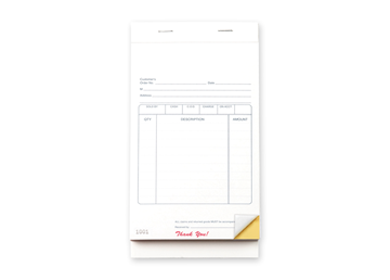 """Custom Multi-Purpose Sales Booklet, Carbonless Business Form, 4-1/4"""" x 7"""", 2-Part with Easy Tear-Out Pages, 50 Sets Per Bookl"""