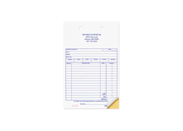 """Custom Business Forms, Carbonless Business Forms, 4"""" x 6-1/2"""", 2-Part with Easy Tear-Out Pages"""