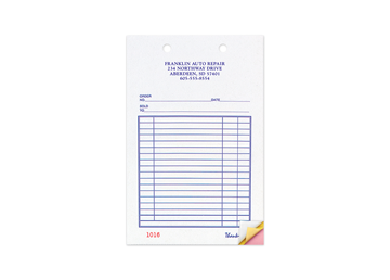 """Custom Business Forms, Carbonless Business Forms, 5-3/8"""" x 8-1/2"""", 2-Part with Easy Tear-Out Pages"""