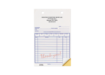 """Custom Red """"Thank You"""" Business Forms, Carbonless Business Forms, 5-3/8"""" x 8-1/2"""", 2-Part with Easy Tear-Out Pages"""