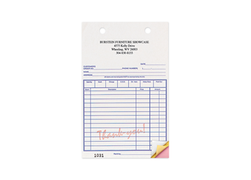 """Custom Red """"Thank You"""" Business Forms, Carbonless Business Forms, 5-3/8"""" x 8"""", 3-Part with Easy Tear-Out Pages"""