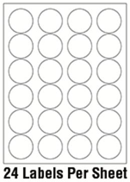 """1 2/3"""" Diameter Circle 1 Color - 24/sheet"""