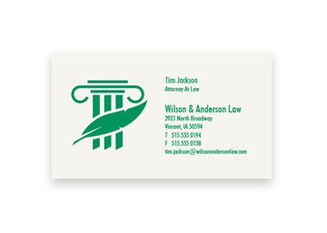 1 Color Standard Business Card - Flat Print, 1-Sided