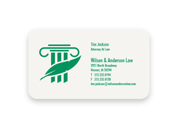 1 Color Standard Business Card - Flat Print, 1-Sided, Round Corners