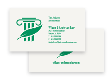1 Color Standard Business Card - Flat Print, 2-Sided