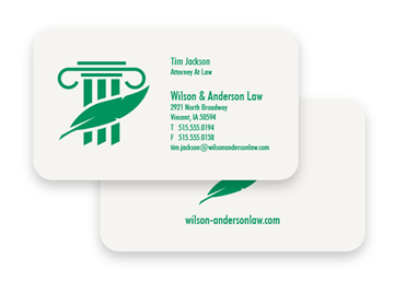 1 Color Standard Business Card - Flat Print, 2-Sided, Round Corners